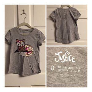 Justice Gray Top with Sequin Fox